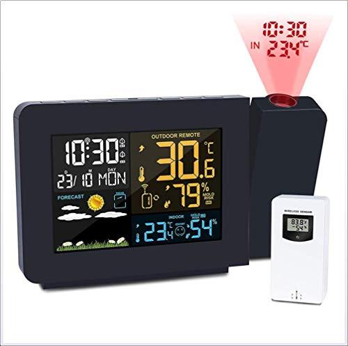 XHLLX Projektions-Wecker, Wetterwetterstation Mit Außensensor, Projektor Dimmbare Uhr Dual-Alarm-LCD-Display Datum Zeit-Temperatur-Feuchtigkeits