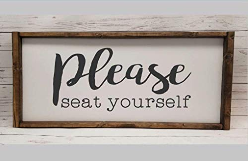 Please seat yourself, Farmhouse sign, rustic decor, fixer upper style, funny bathroom decor art, kid or master bathroom, wash your hands