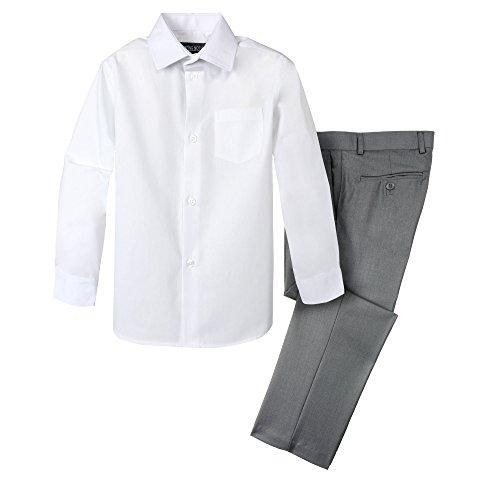 Spring Notion Boys' Dress Pants and Shirt 6 Grey/White