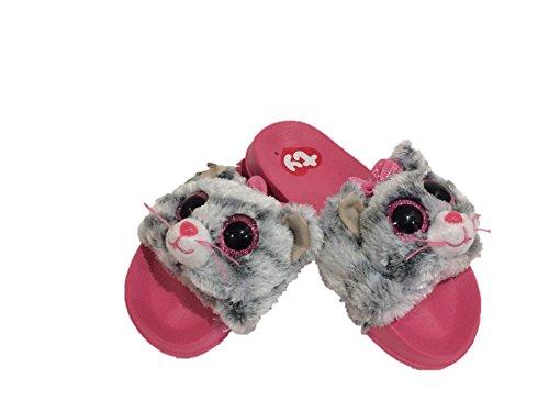 Beanie-Boo Girls Sandals Slides Kiki Kitty Cat Size 4-5 Big Kid Grey