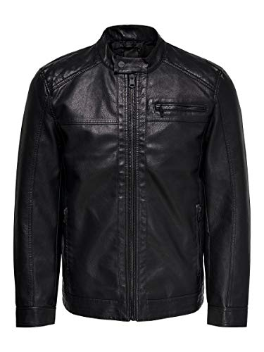 ONLY & SONS Male Jacke Kunstleder MBlack