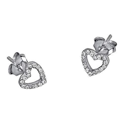 Lotus Pendientes de plata con corazones plateados LP1516-4/1 con circonitas JLP1516-4-1