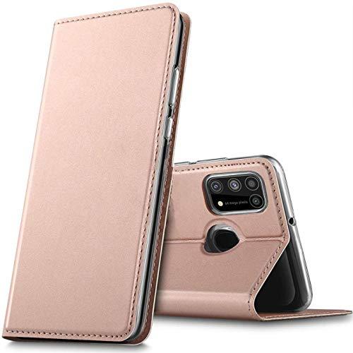Verco Handyhülle für Samsung Galaxy M31, Premium Handy Flip Cover für Samsung M31 Hülle [integr. Magnet] Book Hülle PU Leder Tasche, Rosegold