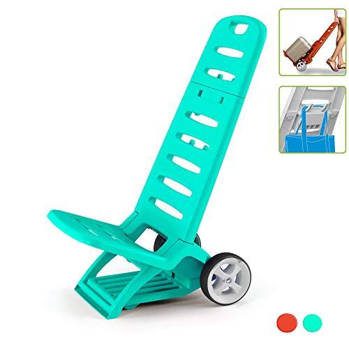 Kreher Rollbarer und zusammenklappbarer Campingstuhl/Strandstuhl mit Belastbarkeit bis 110 kg. 2 in 1 Design, umwandeln zum Transport Trolley möglich (Blau)