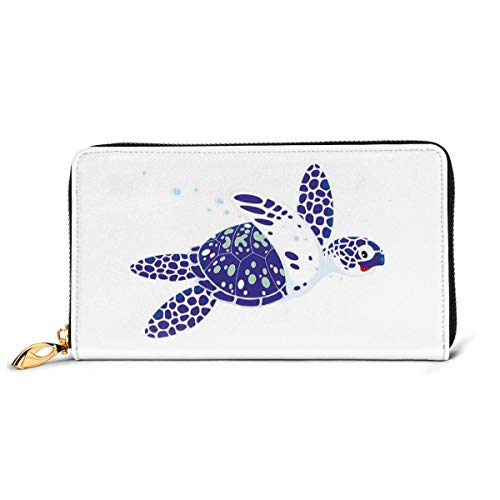 Women's Long Leather Card Holder Purse Zipper Buckle Elegant Clutch Wallet, Cartoony Subaquatic Animal with A Smile Loggerhead Marine Reptile,Sleek and Slim Travel Purse