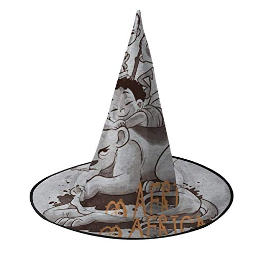OJIPASD Africa Lion And Cubs Witch Hat Halloween Unisex Costume For Holiday Halloween Christmas Carnivals Party