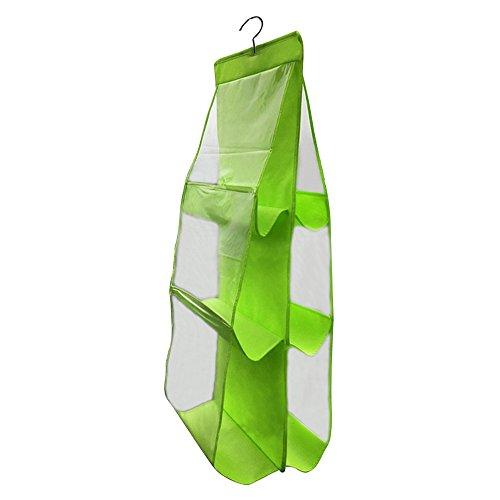 Gosear 6 Poche Organiseur Placard de Rangement pour Sac à Main Transparent+Verte
