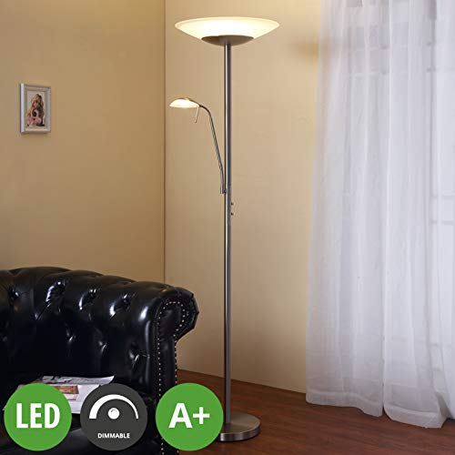 LINDBY LED-Stehlampe dimmbar   Standleuchte Glas/Metall Nickel matt   Deckenfluter Wohnzimmer, Esszimmer, Schlafzimmer   inkl. LED-Leuchtmittel A+   warmweiß (3.000K)  verstellbarer Lesearm