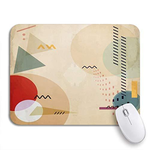 Adowyee Gaming Mauspad Kandinsky abstrakte geometrische Zusammensetzung Ellipsen und Dreiecke mondrian Pinsel rutschfeste Gummi Backing Mousepad für Notebooks Computer Mausmatten