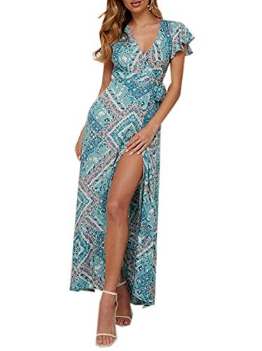 Vestido De Verano para Mujer, Sexy, Estampado, con Lazo, para Vacaciones, En La Playa, Vestidos Envolventes con Cuello En V, Vestido Bohemio, Fiesta Elegante