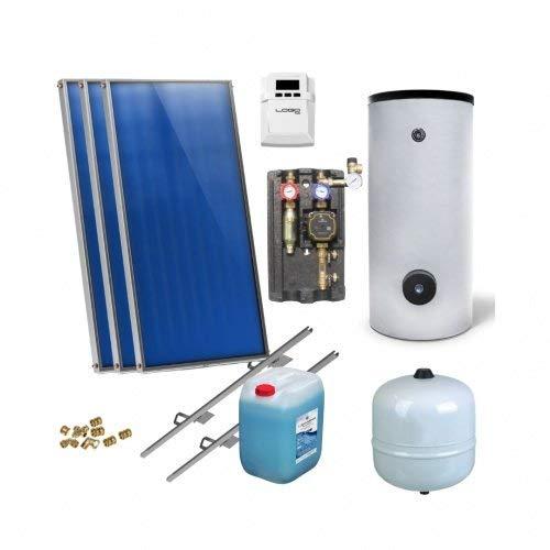 Solaranlage Warmwasser Solarpaket 3 Kollektoren Speicher Flexrohr Flachkollektor