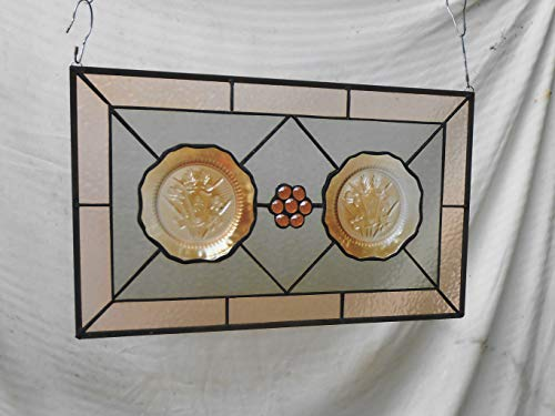 Depression Glass Plate Stained Glass Window Panel, Stained Glass Valance, Iris & Herringbone Stained Glass Transom Window, Unique Home Decor