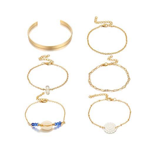 ZYJ 6 stks/sets Beach Shell Natuurlijke Steen Armbanden voor Vrouwen Mooie Bloemen Kralen Ketting Sieraden