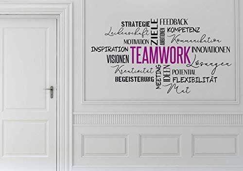 Wandtattoo Wandaufkleber Wandsticker Büro Motivation - TEAMWORK Begegnungen mit Menschen 1 oder 2 farbig - Größe und Farbe frei wählbar!