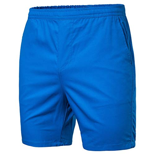 iLXHD Men Swim Trunks Summer Casual Solid Drawstring Beach Shorts Athletic Performance Shorts with Pockets Blue