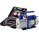 SUQIAOQIAO Vacuum Rotary Bomba de una Etapa + 4 Válvula de A/C Manifold Gauge Set, HVAC refrigerante Aire Acondicionado 4.8CFM 1 / 3HP