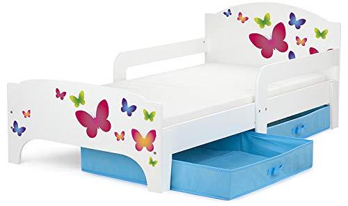 Leomark Smart letto per bambini in legno, lettino con cassetto cassettone e materasso 140x70cm, magnifiche stampe, mobili per bambini, attrezzatura stanza per bambino, tema: FARFALLE COLORATE