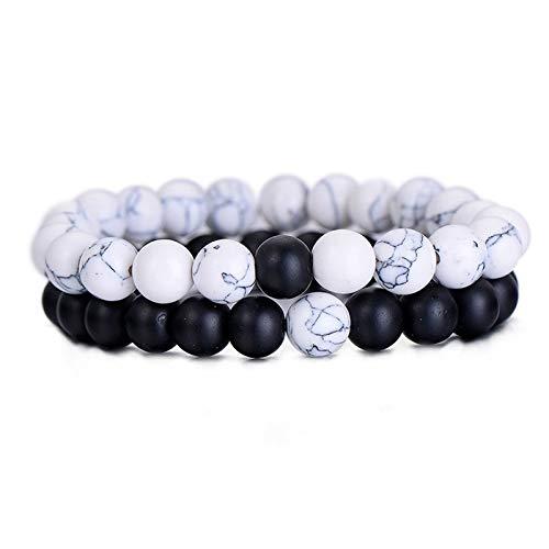 Zhaodong Belle 2PCS / Set Distance couples Bracelet classique Bracelets de perles en pierre naturelle (blanc noir) Zhaodong (Color : White black)