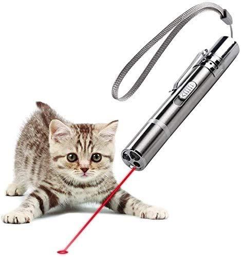 Diese 3-in-1-Katzenspielzeug-Taschenlampe projiziert rotes Licht, wiederaufladbare USB-3-in-1-Katzenspielzeug-Rotlicht-Taschenlampe, Katzenspielzeug für Katzen