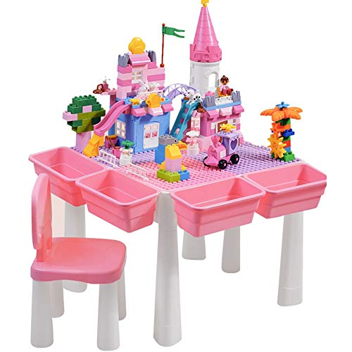 Juego de mesa de actividades múltiples 5 en 1 Mesa de juego y aprendizaje for niños con silla y piezas Bloques de construcción grandes compatibles con todas las marcas principales Escritorio rosa for