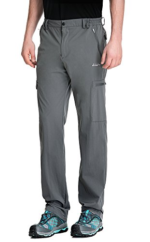 Clothin Men's Elastic-Waist Travel Pant Stretchy Lightweight Cargo Pant Quick Dry Breathable(Grey M-32)
