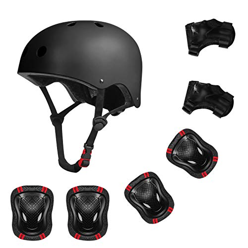 YUFU Kids Helmet Sports Protective Gear Set for 3-13 Years Children Boys Girls Bike Skateboard Adjustable Helmet Knee Elbow Wrist Pads for Cycling Skating Roller Scooter Bicycle, Pack of 7