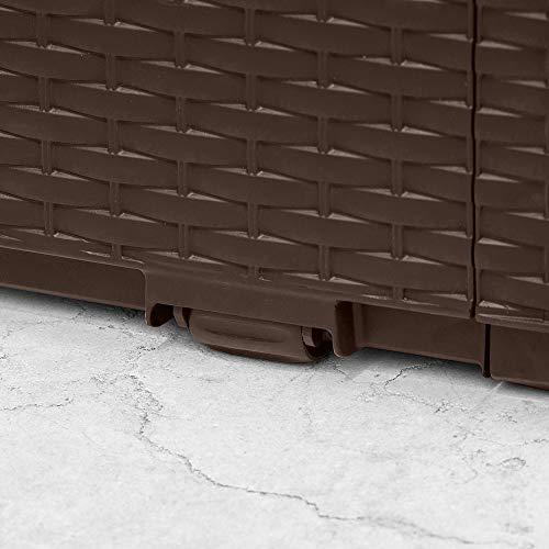 Deuba Keter - Coffre de Rangement Marron avec roulettes - 305 litres - Max 240 kg - poignées latérales - Malle de Rangement