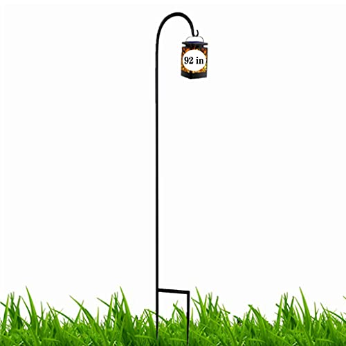 조정 가능한 검은 셰퍼드 후크 92 인치 슈퍼 강하 녹 방지 강하 훅 결혼식에서 사용하기에 이상적 식물 바구니 태양 광 등불 및 기타 팩 1
