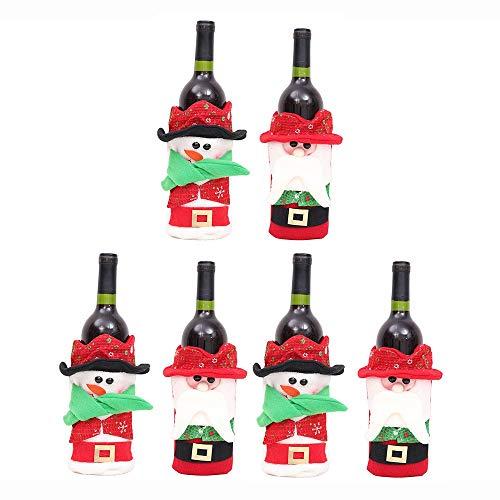 LiangDa Weihnachten Flasche Gift Bag Weihnachts Kronkorken Flasche Taschen Kleid 6pcs Weihnachten Rotwein-Flaschen-Beutel (Farbe : Mehrfarbig, Größe : Free Size)