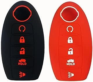 2Pcs Coolbestda Silicone Rubber Key Fob Skin Jacket Remote Protector Keyless Entry Holder for Nissan Altima Sedan Pathfinder 5 Buttons Black Red