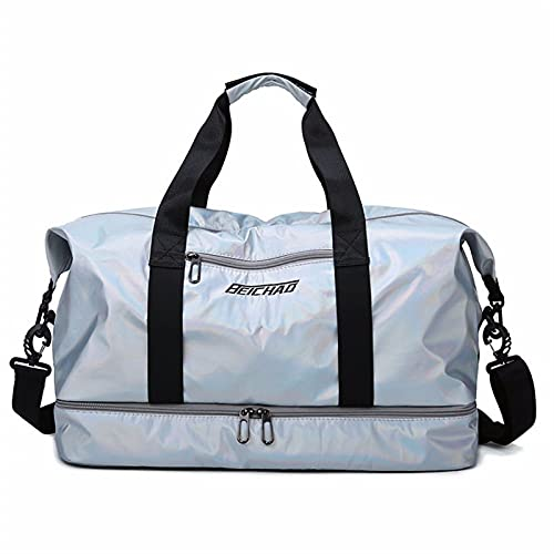 Travel Bag Large Capacity Men Hand Luggage Travel Duffle Bags Weekend Bags Women Multifunctional Travel Bags, Fitness Sports Bag (Color : Silver)