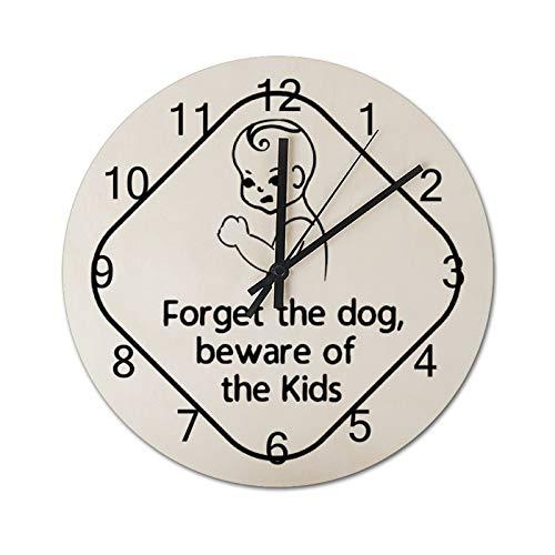 None-brands Forget The Dog Beware Of Black - Reloj de pared digital silencioso de madera de 30,48 cm, funciona con pilas, para cocina, hogar, sala de estar, oficina