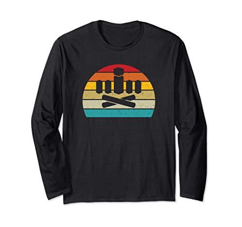 Kubb retro sunset kubb yard game player Long Sleeve T-Shirt