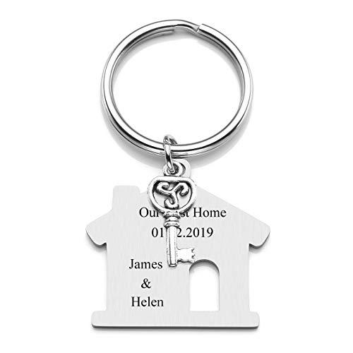 JOVIVI Edelstahl Schlüsselanhänger mit Gratis Gravur Haus/Hund/Helikopter/Flugzeug/Auto Form Schlüsselring Keychain Geschenk
