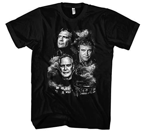 Preisvergleich Produktbild Lee Majors Männer und Herren T-Shirt / Vintage Colt Seavers Retro Kult (XXL,  Schwarz Druck:Weiß)