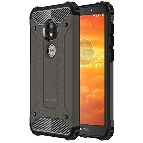 TECHGEAR Moto E5 Play Case [Tough Armoured] ShockProof, Dual-Layer, Protective, Heavy Duty, Tough Cover Compatible with UK Motorola Moto E5 Play - (Slate)