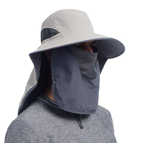 USHAKE Outdoor Fishing Hat with Face Neck Flap Cover, Wide Brim Sun Hat Khaki