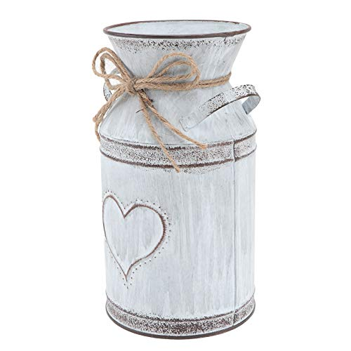 Hemoton Shabby Chic Vintage Farmhouse Jug Vase Rustic Metal Galvanised Flower Pot Love Heart Iron Bucket Decorative Planter Table Centrepiece