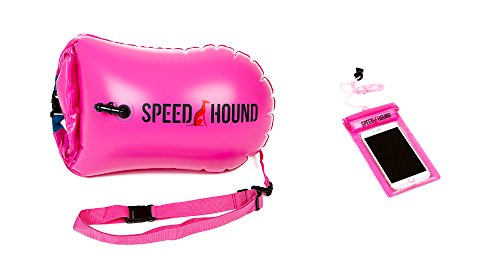 Speed Hound Swim Buoy - Open Water Swim Buoy Flotation Device with Dry Bag and Waterproof Cell Phone Case (High Vis Pink) for Swimmers, Triathletes, and Snorkelers. Floats for Safer Swims