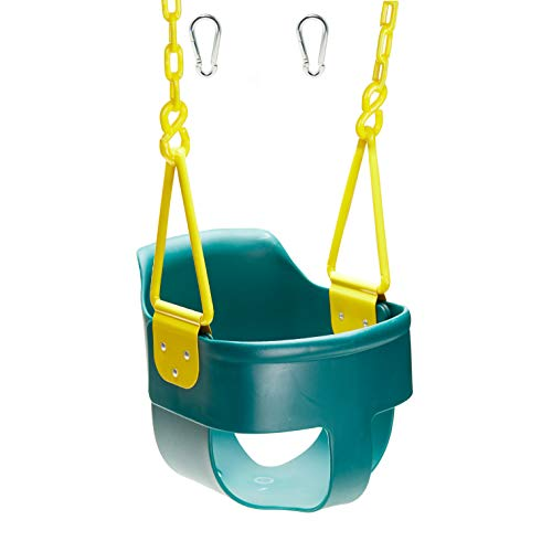Squirrel Products High Back Full Bucket Toddler Swing Seat 3.0 with Finger Grip, Plastic Coated Chains and Carabiners for Easy Install - Green