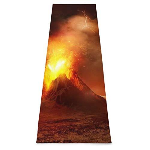 CONICIXI Esterilla Yoga Montaña Gran volcán de gas en erupción Gases de lava calientes Naturaleza Ciencia Fuego Paisaje Ceniza Desastre Colchonetas de ejercicio Pilates para entrenamiento en casa