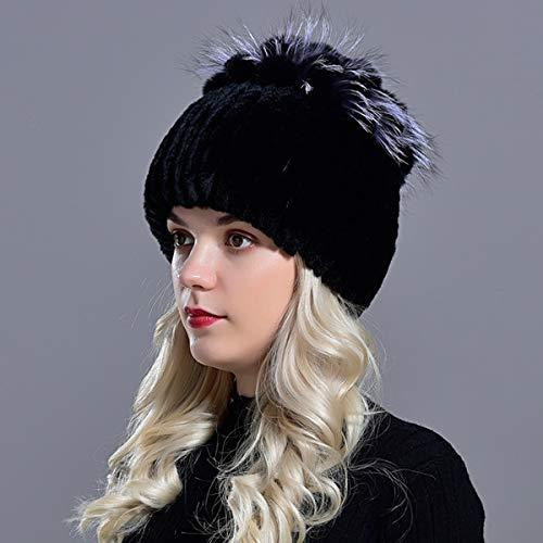 Sombreros para Mujer Gorro de Invierno Tejido para Mujer Gorros de Nieve cálidos para Mujer Elegante Gorro de Princesa Gorros-Black-56-59cm