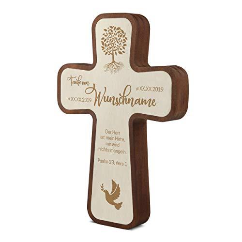 Taufkreuz Kinderkreuz aus langlebigen Kebony- und Pappelholz inkl. individueller Gravur 11x16x2,2cm - Weltenbaum