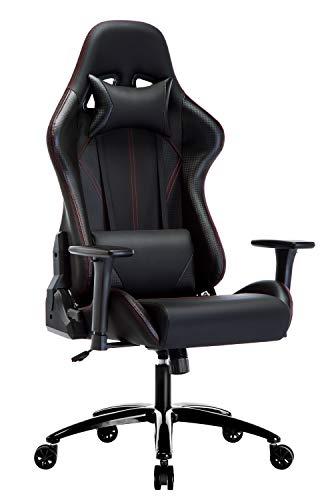 Amoiu Sedia Gaming con Braccioli Regolabile,con 135°Reclinabile Schienale e Cuscino di Testa e Cuscino di Vita Trattamento Superficiale in Fibra di Carbonio