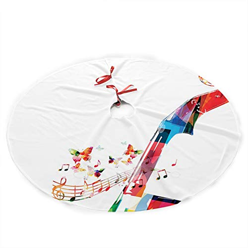 FULIYA Christmas Tree Skirt,Creative Abstract Cheerful Design of Pegbox with Butterflie,Xmas Christmas Tree Skirt for Merry Christmas New Year Holiday Party Home Decorations 36inch