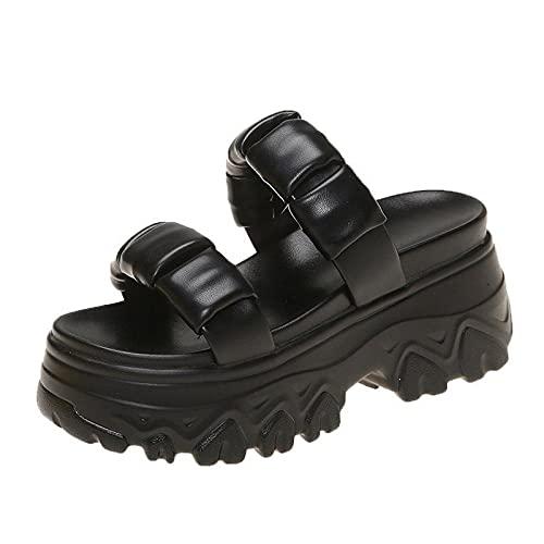 Strandglijbaan zwembadschoenen, dikke bodem voor dames, geplooide sandalen, sportpantoffels met hoge hakken-black_36, antislip badkamer zomersandalen