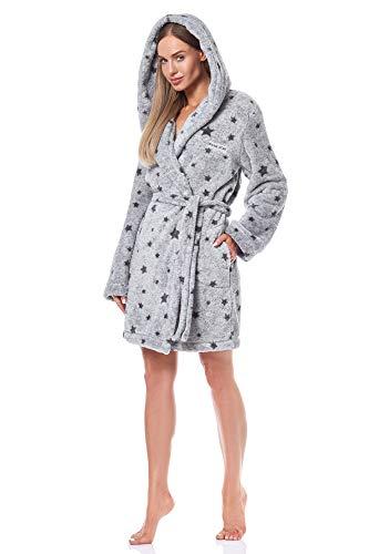 L&L - 9135 Albornoz Suave de Manga Larga para Mujer. Extremadamente Ligero. Vestido de Bata con Capucha para Damas. (Melange, Small)