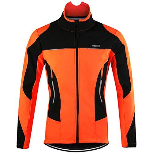 Yu$iOne Fahrradbekleidung MäNner, Herbst Und Winter Windsicher Temperatur Beibehalten Lange ÄRmel Mantel FüR Mann Ma'Am Jacket FüR Radfahrer,Orange,L