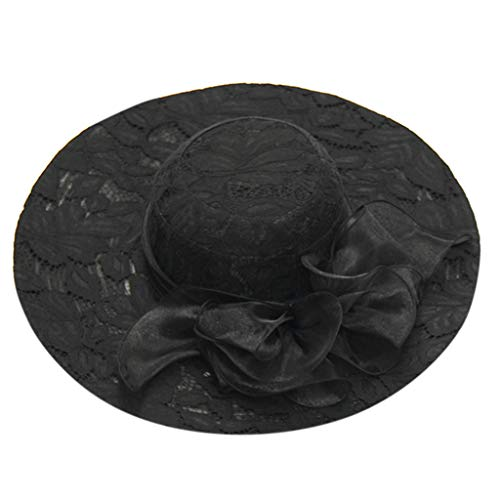 Queens Fiesta de Cumpleaños – Reino Unido Elegante ala Ancha Sombreros con Lazo, Verano Vintage Sombrero de Sol para...