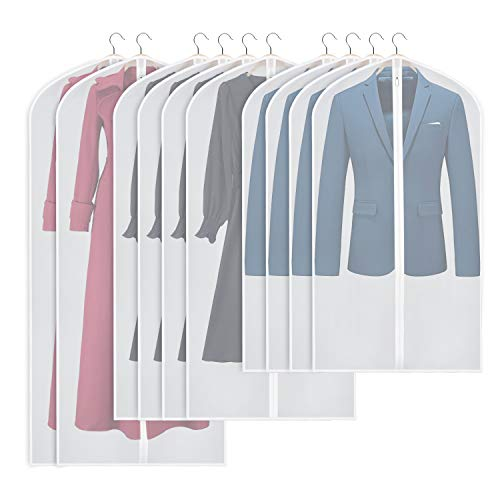 Univivi Garment Bags Lightweight Translucent Full Zipper Suit Bags (Set of 10) Hanging Dress Bag Washable Moth-Proof Dust Cover for Closet Clothes Storage -40/50/60inch